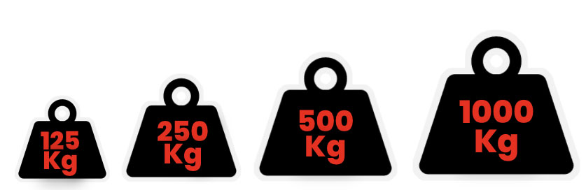 from 125 to 1000 Kg